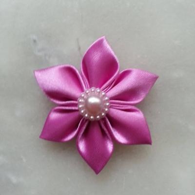 Fleur satin unie  5cm pétales pointus mauve rose