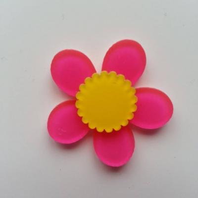 fleur en plastique  36mm rose et jaune