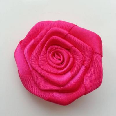 Fleur de satin plate  50mm rose fuchsia