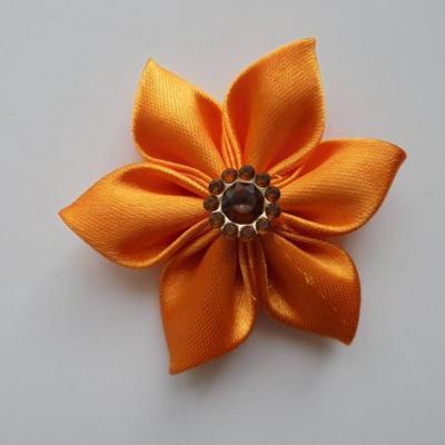 Fleur satin unie orange 5cm