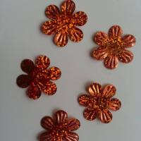 Lot de 5 sequins fleurs 35mm  à reflets orange