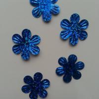 Lot de 5 sequins fleurs 35mm  à reflets bleu