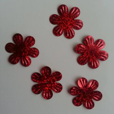 Lot de 5 sequins fleurs 35mm  à reflets rouge