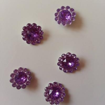 lot de 5  strass ronds  12mm mauve