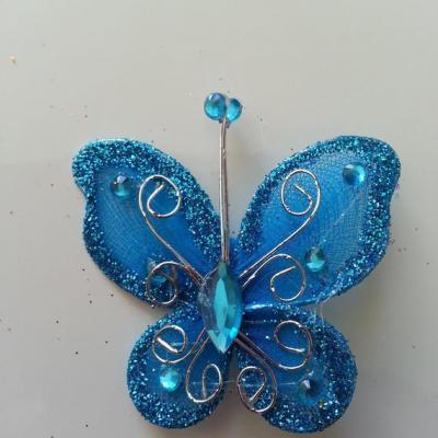 Papillon  strass et paillettes  50*50mm bleu turquoise