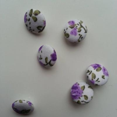 boutons ronds recouvert de tissu blanc à fleurs mauve 14mm lot de 6