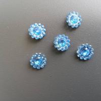 lot de 5  strass ronds  12mm bleu turquoise