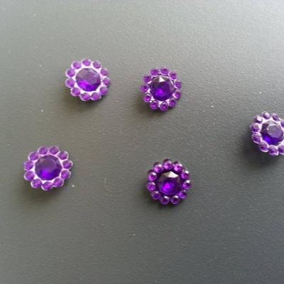 lot de 5  strass ronds  12mm violet