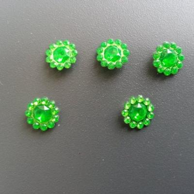lot de 5  strass ronds  12mm vert