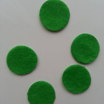 Lot de 5 ronds de feutrine  de couleur 30mm vert