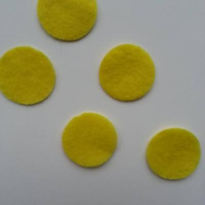 Lot de 5 ronds de feutrine  de couleur 30mm jaune