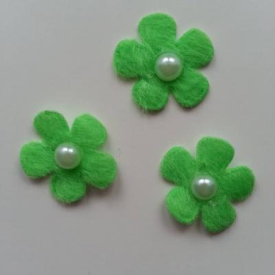 Lot de 3 fleurs perlée en feutrine  25mm vert
