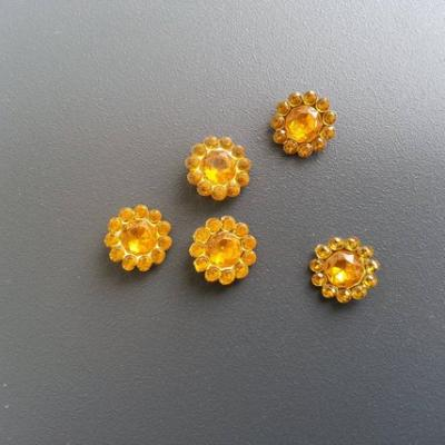 lot de 5  strass ronds  12mm jaune orangé
