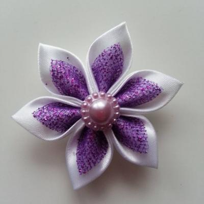 Fleur satin blanche et organza pailleté mauve  5cm