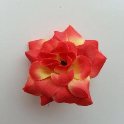 Fleur  en tissu  50mm rouge et jaune