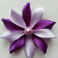 Fleur de satin bicolore 7,5cm mauve et violet