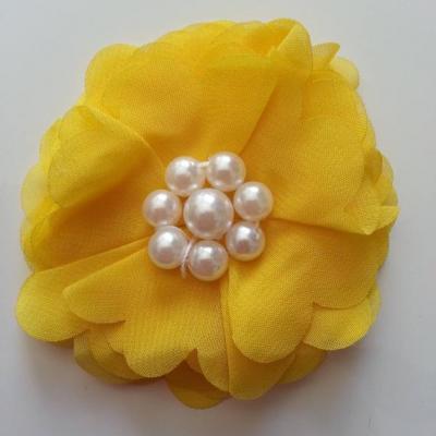 fleur mousseline et perles 70mm jaune