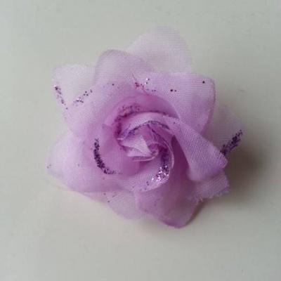 Fleur  en tissu pailletée mauve  50mm
