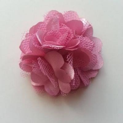 Rosette  fleur  satin et tulle  50mm vieux rose