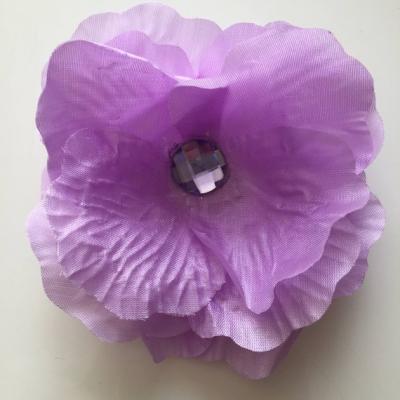 Fleur en tissu mauve et strass 90mm
