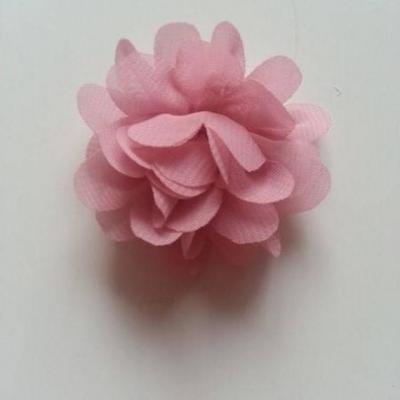 fleur mousseline vieux rose 60mm