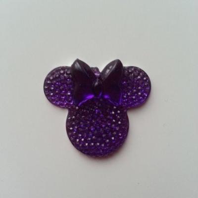 tête de souris  minnie en résine 30*25mm violet