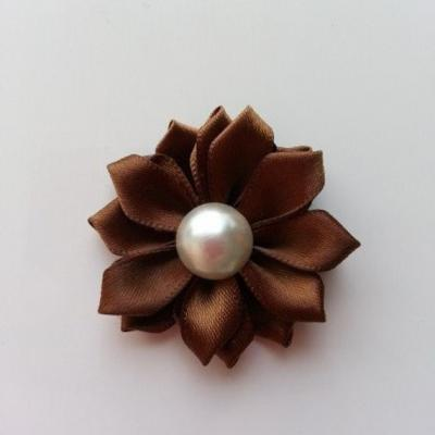 fleur satin demi perle  35mm marron foncé