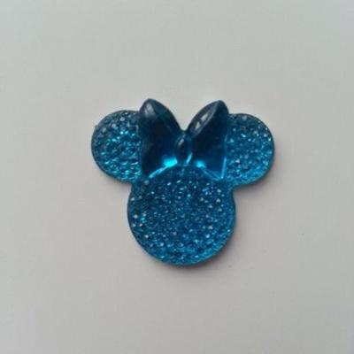 tête de souris  minnie en résine 30*25mm bleu