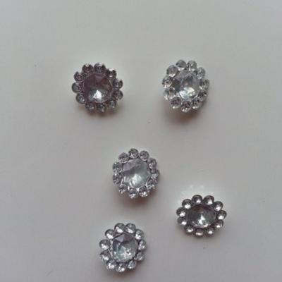 lot de 5  strass ronds  12mm argent
