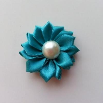 fleur satin demi perle  35mm bleu vert