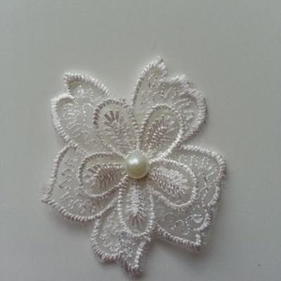 Double fleur en dentelle blanc 50mm