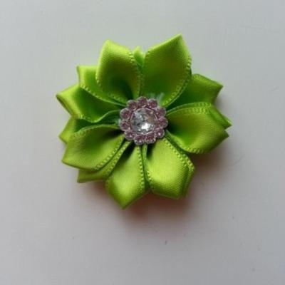 Applique fleur satin strass  35mm vert