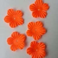 Lot de 5 fleurs en tissu  35mm orange