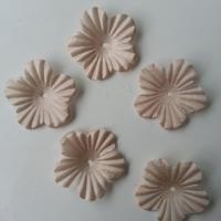 Lot de 5 fleurs en tissu  35mm beige