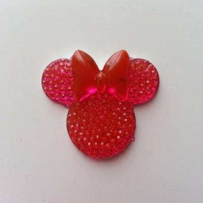 tête de souris  minnie en résine 30*25mm rose fuchsia