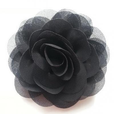 fleur de pavot en mousseline 80mm noir