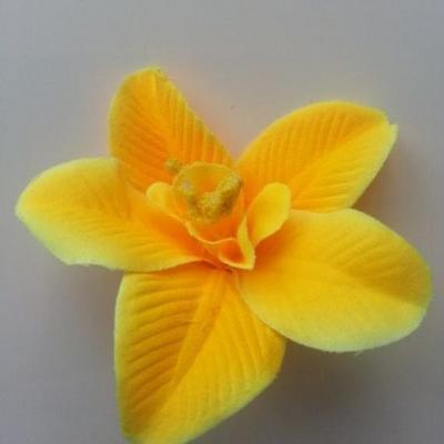 Orchidée  en tissu   70mm jaune