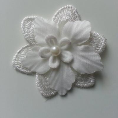 double fleur dentelle et tissu blanche 55mm