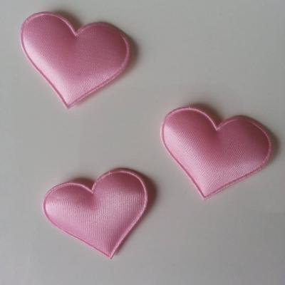 Lot de 3  coeurs satin 30*25mm rose