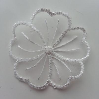 Double fleur en dentelle blanche 50mm