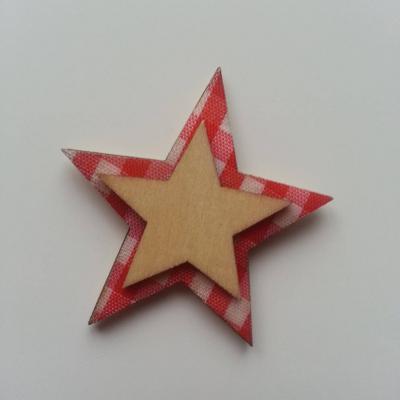 etoile en bois  fond rouge et blanc 45mm