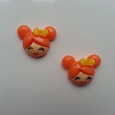 Lot de 2   tête de petite fille 20*18mm orange