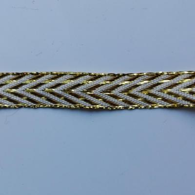 morceau d'1 mètre de  ruban ivoire et doré, or  12mm