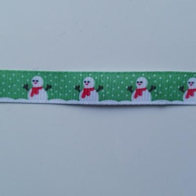 morceau d'1 mètre de  ruban gros grain bonhomme de neige vert 10mm