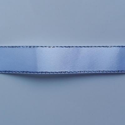 morceau d'1 mètre de  ruban satin blanc liseré  argent  15mm