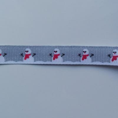 morceau d'1 mètre de  ruban gros grain bonhomme de neige gris 10mm