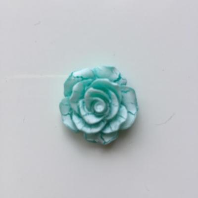 rose en résine 20mm vert et  blanche