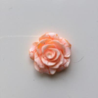 rose en résine 20mm orange et  blanche