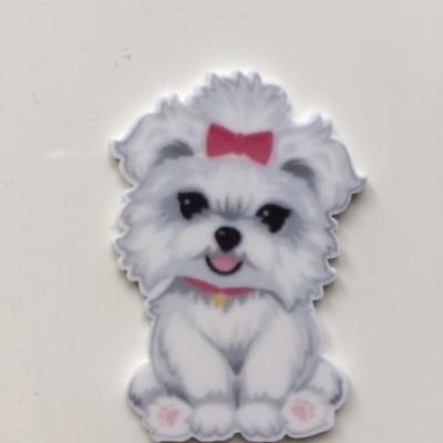 cabochon plat en résine chien blanc et rose  30*45mm