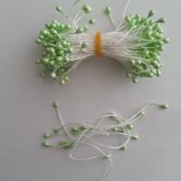 Lot de 10 pistils  tête de 3mm vert pâle N12